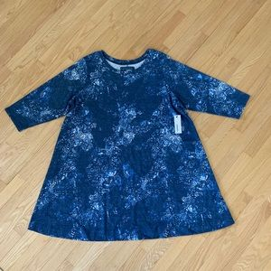 NWT SONOMA Indigo Print Stretch Dress 2X